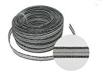 Stromleitendes Kunststoffband, weiß-schwarz, 1m, 10mm breit.